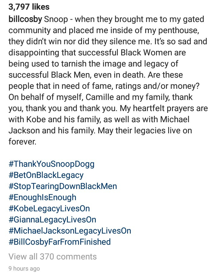 "Bill Cosby writes Snoop Dogg from prison; thanks him for his post calling out Gayle King and Oprah Winfrey for ""tarnishing the legacy of Black men"""