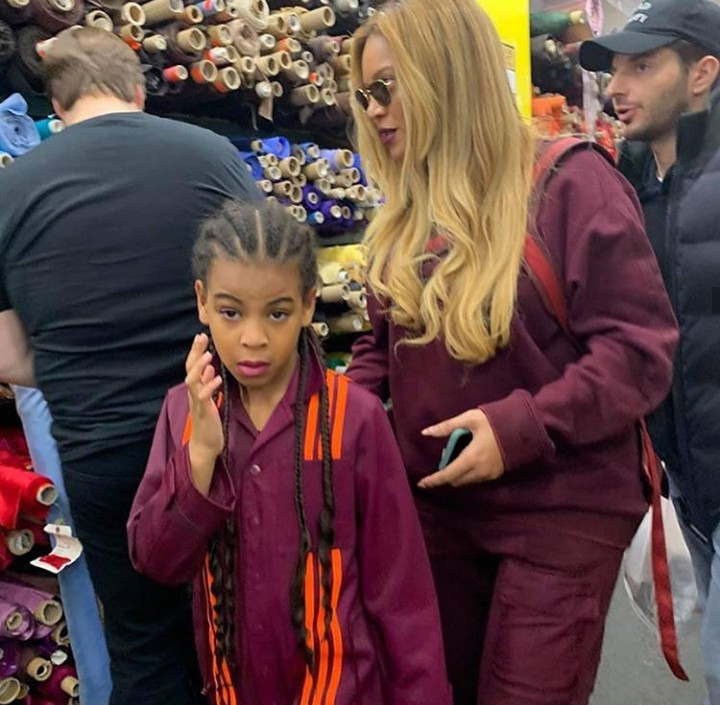 Beyonce and Blue Ivy seen wearing matching Adidas X Ivy Park gear as they go shopping at Mood Fabrics in NYC (Photos/video)