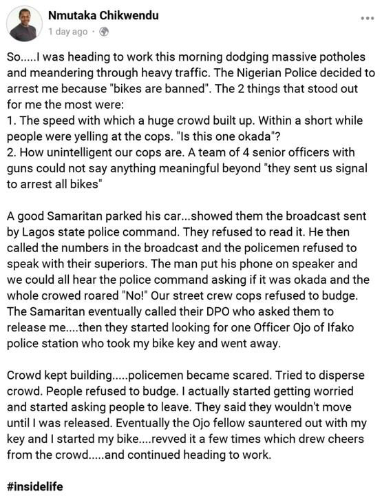 Man narrates how Lagos residents embarrassed policemen who wanted to impound his power bike