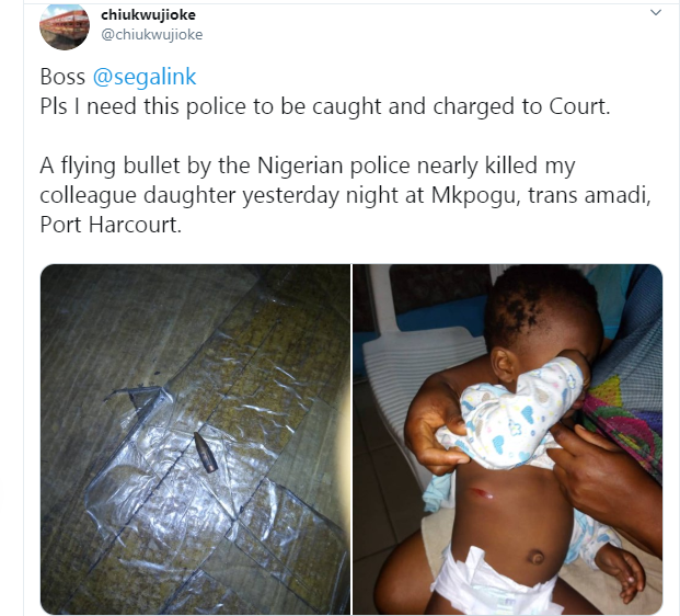 Baby nearly killed by stray bullet allegedly fired by police officer in Port Harcourt (photos)