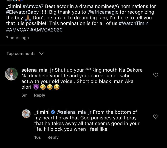 Actor Timini Egbuson calls out female troll attacking him in comment section of his post but drooling over him in his DM
