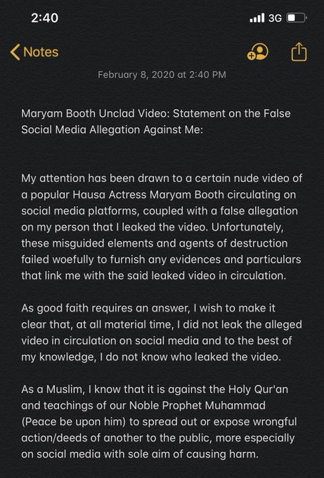 Hausa actress, Maryam Booth accuses her ex-boyfriend of blackmail after her nude video got leaked on social media