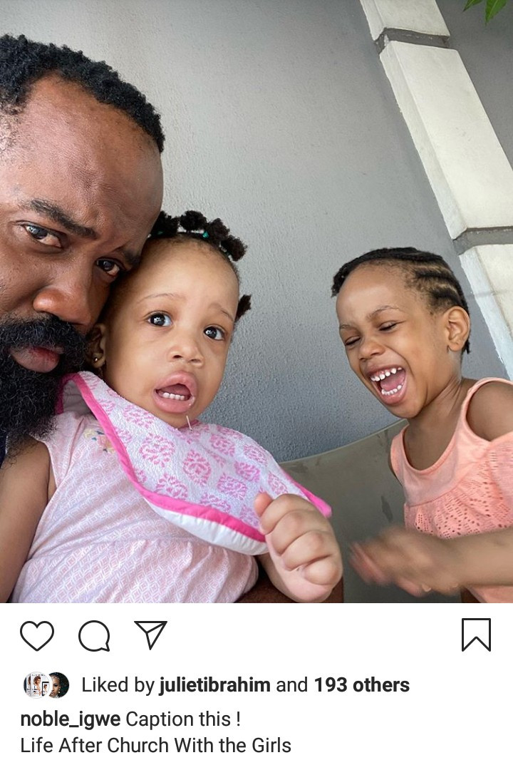 Noble Igwe shows off his daughters