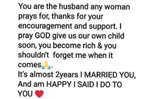 Nigerian lady thanks her husband for marrying her even after she cheated on him