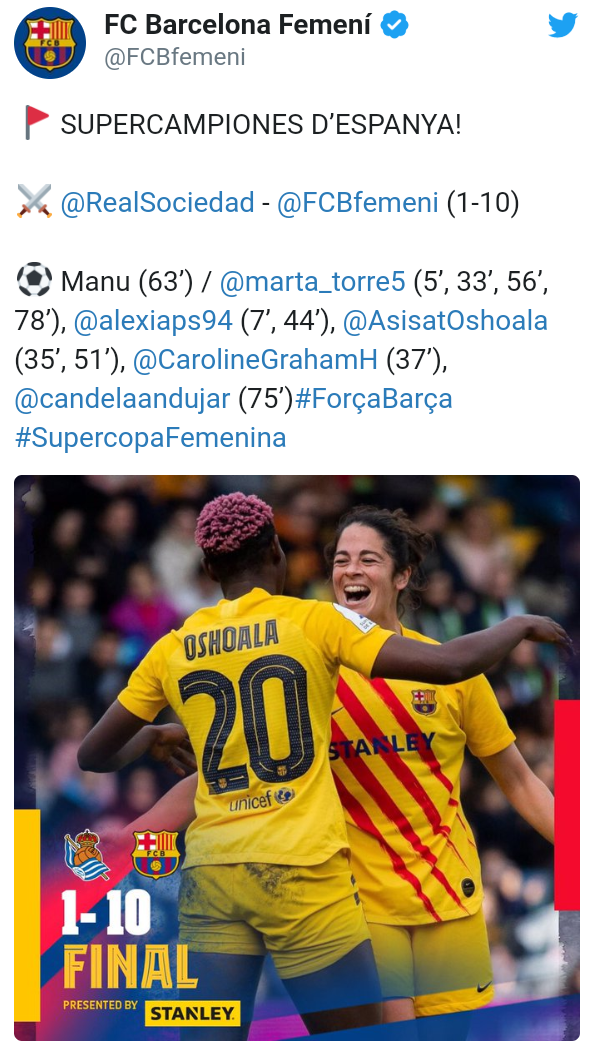 Asisat Oshoala at her brilliant best as Barcelona thrash Real Sociedad 10-1 to win first ever Spanish Supercopa Femenina title (photos)