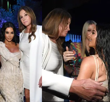 Kim Kardashian and Caitlyn Jenner hug and smile as they reunite at Vanity Fair Oscars party