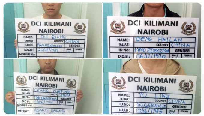 Four Chinese nationals arrested after one was captured on video flogging a Kenyan waiter in Nairobi restaurant for reporting late to work (video)