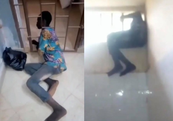 Thief shows how he got in and out of an apartment after being caught red-handed (video)