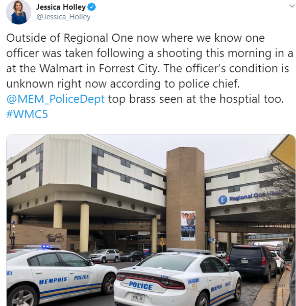 Suspect dead, 2 officers injured in shooting at Walmart in Forrest city, Arkansas