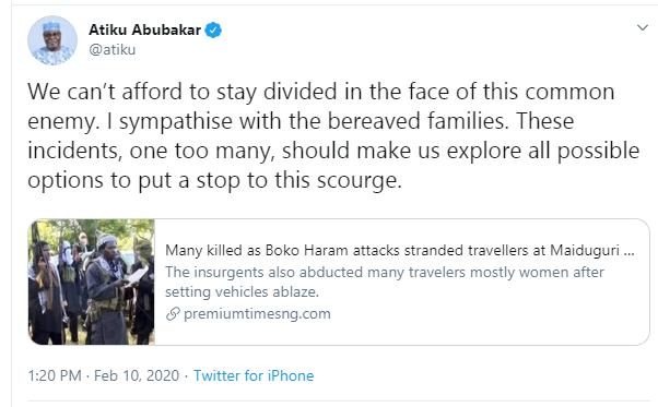 Atiku reacts to massacre of 30 people in Borno Boko Haram