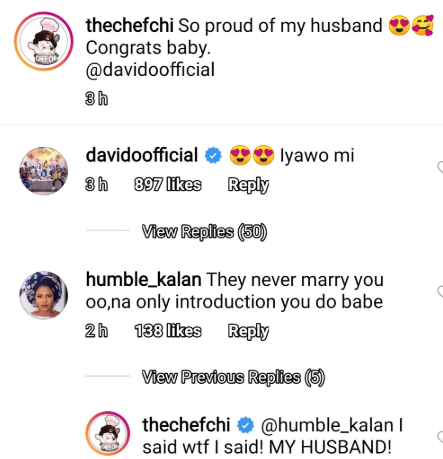 Chioma sets the record straight after a troll slammed her for referring to Davido as her husband