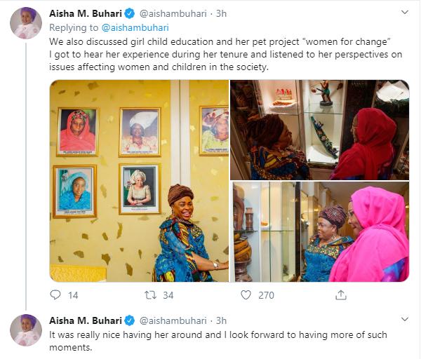 Patience Jonathan visits Aisha Buhari (photos)