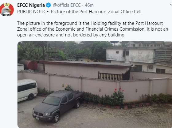 EFCC disowns purported pictures of Port Harcourt detention facility