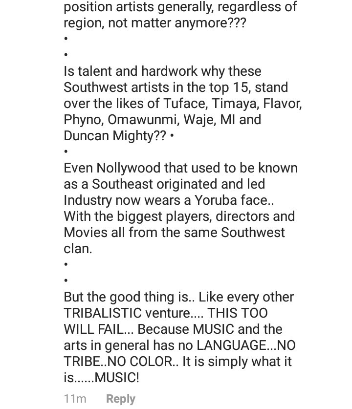 """We all know the entertainment industry is now soaked in tribalism"" Etcetera responds as Emma Ugolee asks why most top artists are from the Southwest"