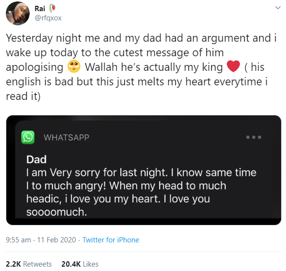 Woman shares message she received from her dad the morning after they had a big argument and it