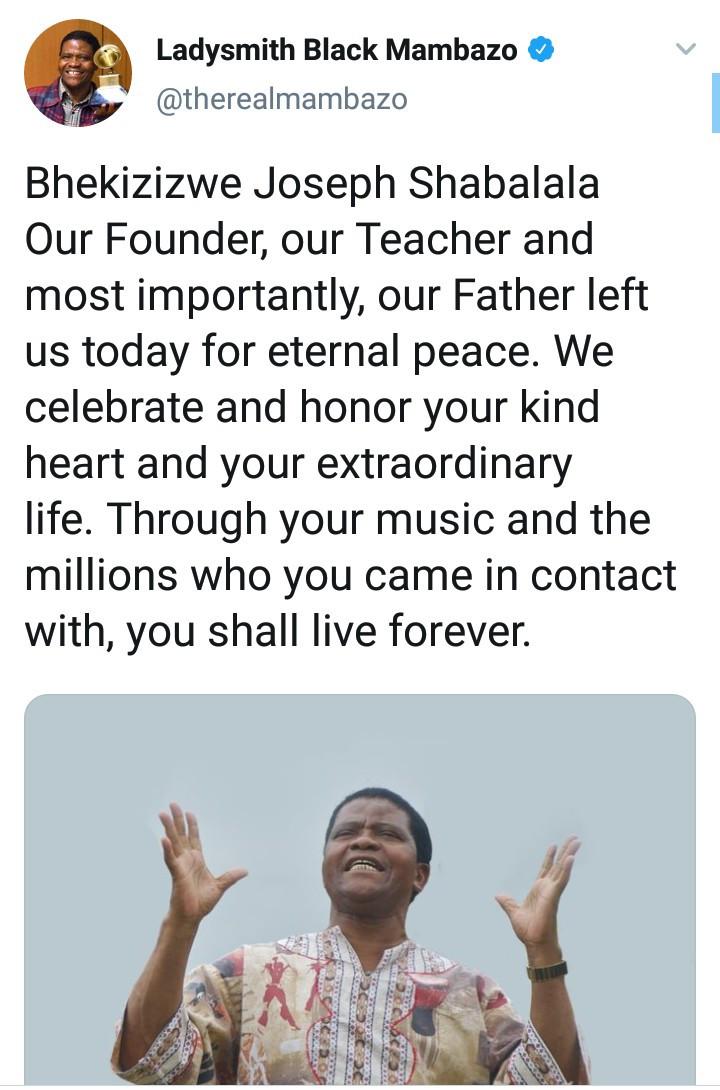 South Africans mourn Joseph Shabalala, Ladysmith Black Mambazo founder who died aged 78