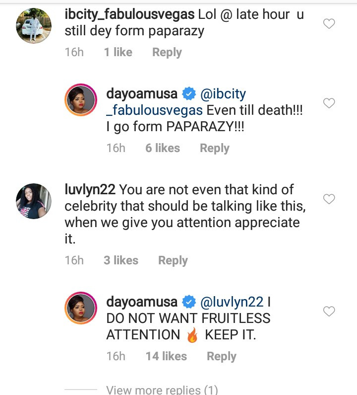 Dayo Amusa and her followers clash after she asked people to stop sending her love related DMs