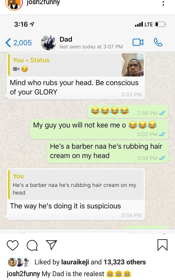 Comedian Josh2funny shares hilarious chat exchange with his protective dad