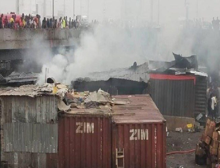 Fire guts popular Apongbon market in Lagos (photos)