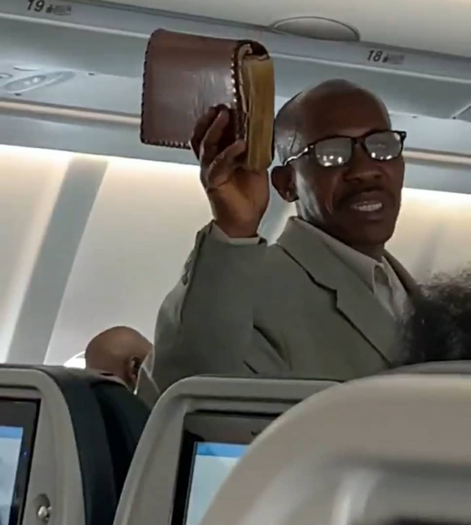 Trending video of an African man preaching the gospel onboard a flight