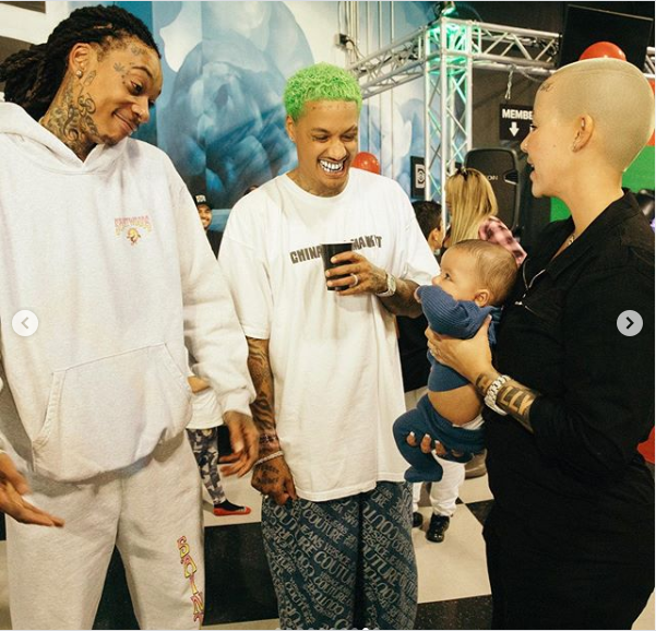 Wiz Khalifa poses with Amber Rose