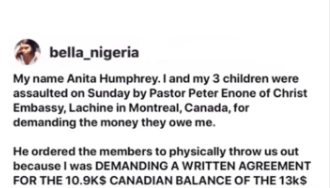 Lady alleges she and her three children were assaulted in Christ Embassy after demanding for money a Pastor of the church owes her (video)