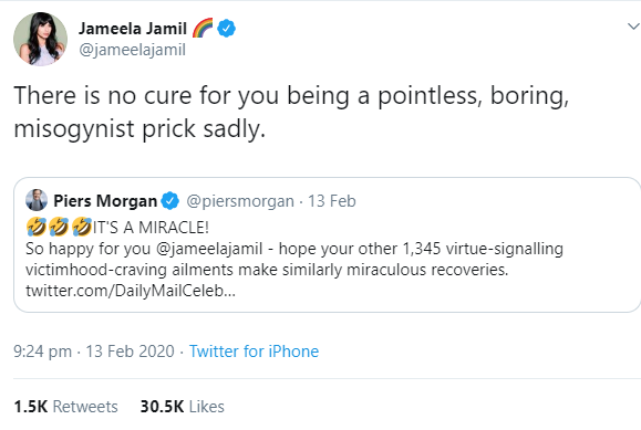 Piers Morgan and Jameela Jamil drag each other on Twitter and it ends with Jameela blocking Piers