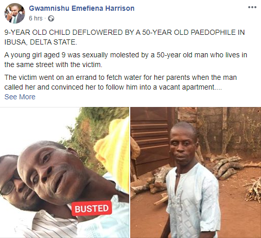 50 year old man arrested for allegedly defiling 9 year old girl in Delta (photo)