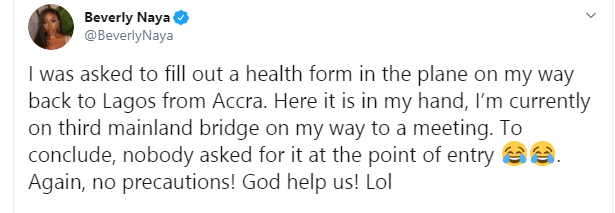 CORONA VIRUS: NO HEALTH PRECAUTION AT NIGERIAN PORT OF ENTRIES - Actress Beverly Naya Cries Out