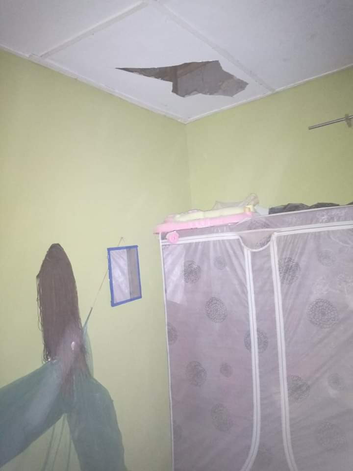 Nigerian woman and her baby almost killed as huge block crashes through roof, bedroom ceiling, and fell on them while sleeping  (photos)