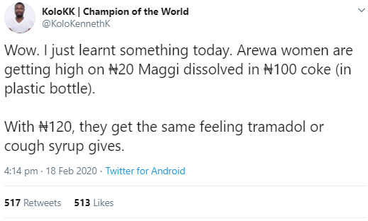 Twitter users express shock as man reveals new concoction Arewa women allegedly mix to get high