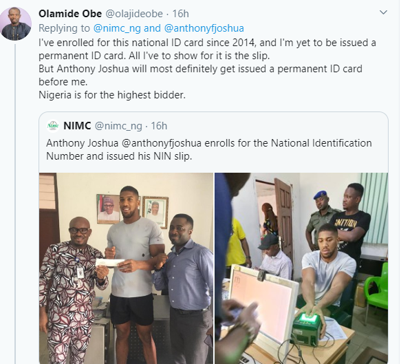 Nigerians tackle NIMC for posting Anthony Joshua