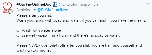 """""""Using toilet rolls to clean after defecating can cause you medical problems""""- Nigerian doctor warns"""
