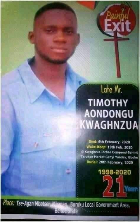 Another final year Benue State University student shot dead by suspected cultists a month to graduation
