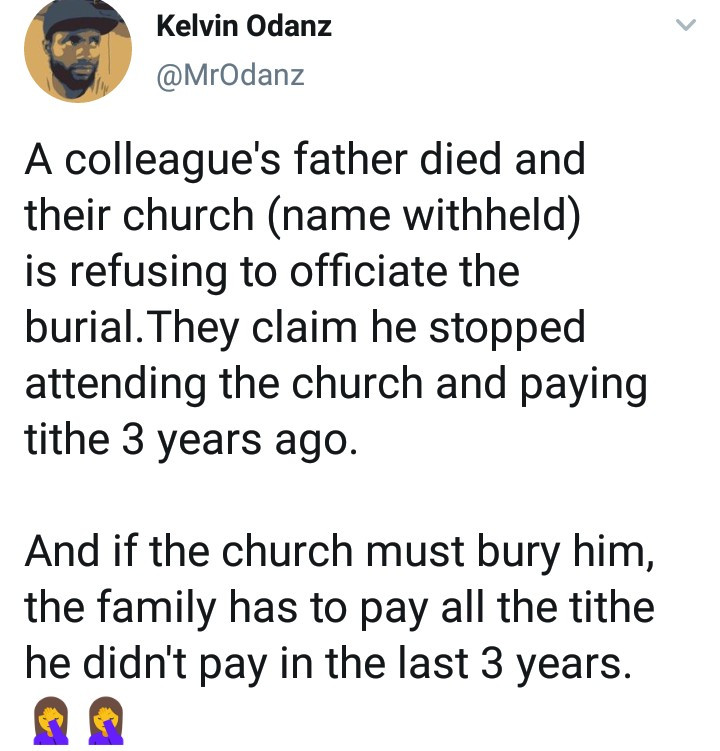 Church allegedly refuses to bury a dead member because he stopped paying tithe some years back