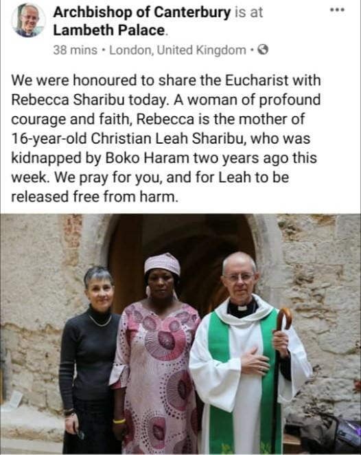 Archbishop of Canterbury hosts Leah Sharibu
