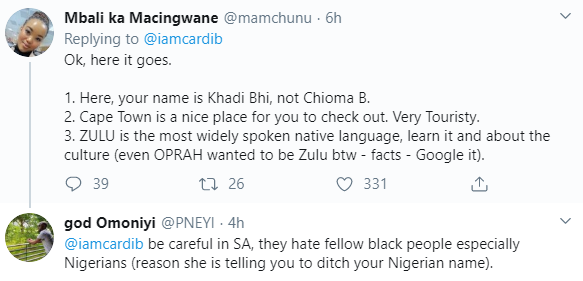 Nigerians and South Africans throw jabs at each other after Cardi B tweeted