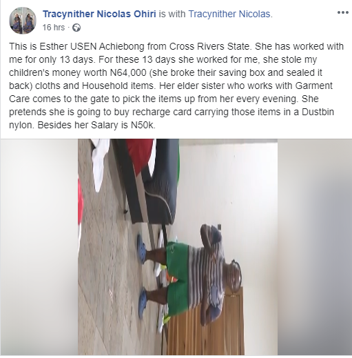 Househelp runs into toilet with knife after being caught stealing from a family in Lagos (videos)