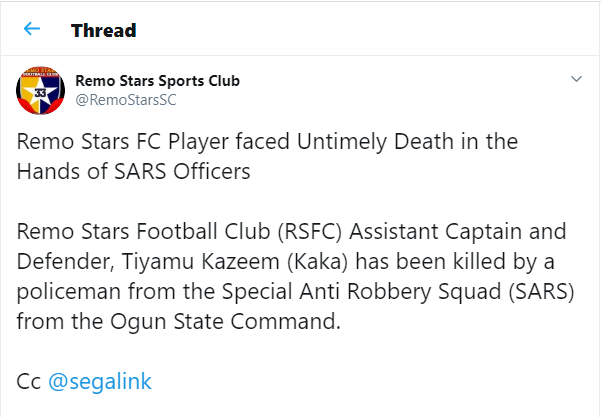 SARS officers allegedly kill Nigerian footballer Tiyamu Kazeem in Sagamu (Graphic video)