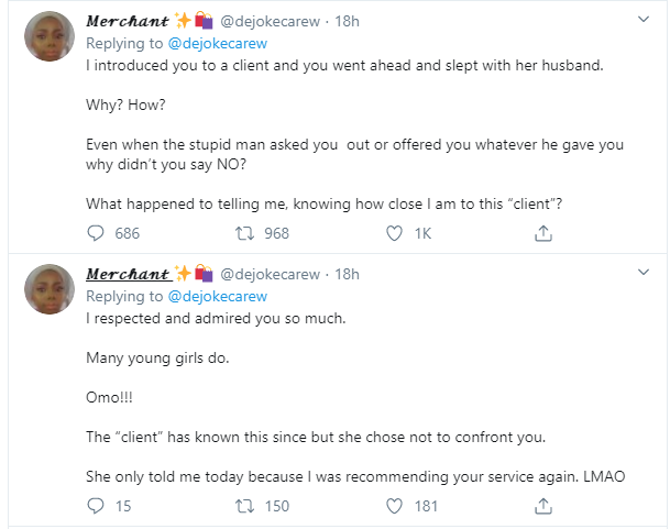 Twitter user calls out vendor who slept with husband of client she introduced her to