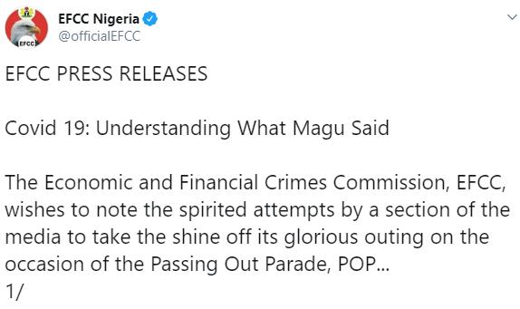 Magu never said Coronavirus is caused by corruption- EFCC insists