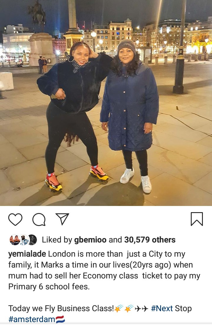 """Today we fly business class"" Yemi Alade says as she remembers the time her mum had to sell her economy class ticket to pay her school fees"