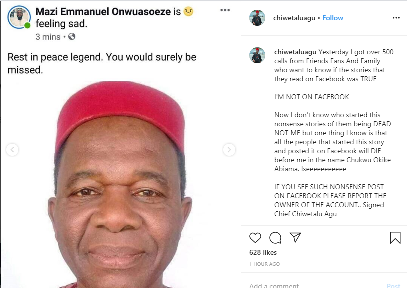 Chiwetalu Agu reacts to rumour of being