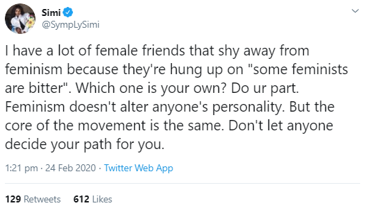 Simi schools her followers on feminism as she advocates for gender equality