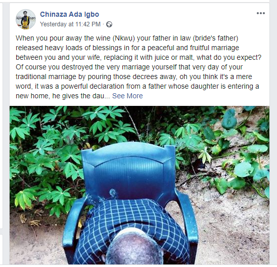 A marriage is destroyed if the wine the father of the bride blessed during a traditional wedding is poured away - Nigeria writer