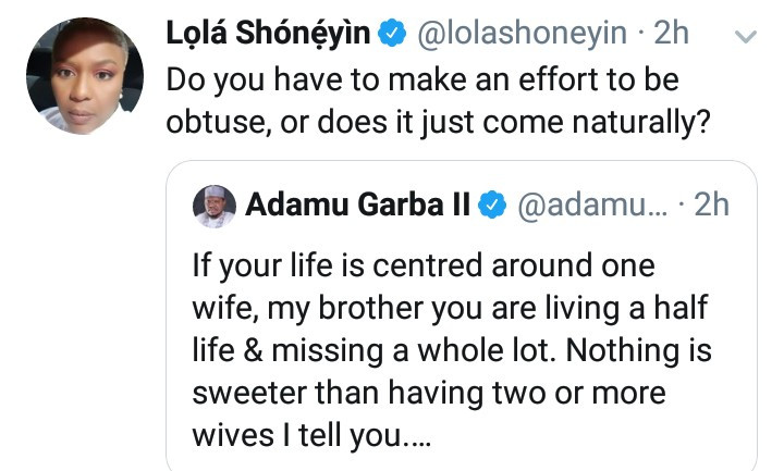 "Former presidential aspirant Adamu Garba, says men with only one wife ""are living a half life"""