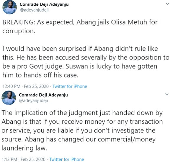 The implication of Olisa Metuh
