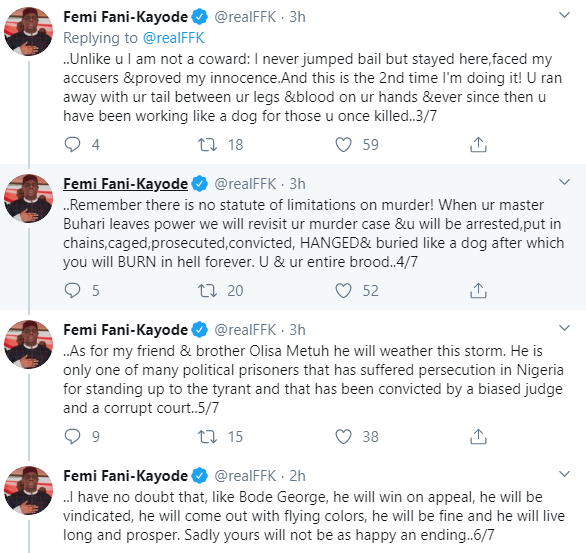 FFK drags Kayode Ogundamisi for mocking him after court convicted and sentenced Olisa Metuh