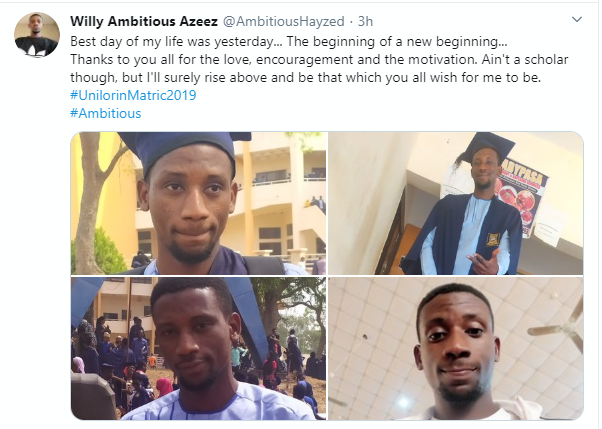 Man celebrates getting admitted into the University 8 years after leaving secondary school