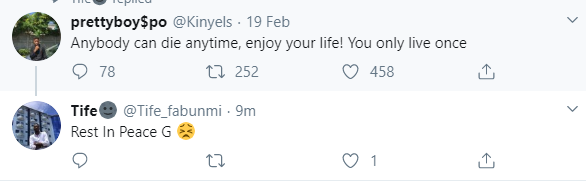"Twitter user dies days after tweeting: ""Anybody can die anytime, enjoy your life! You only live once"""